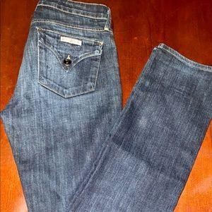 Hudson dark wash mid rise flap button pocket jeans